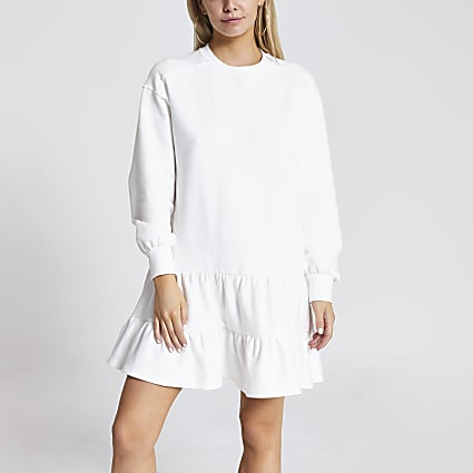 Petite cream smock sweatshirt dress