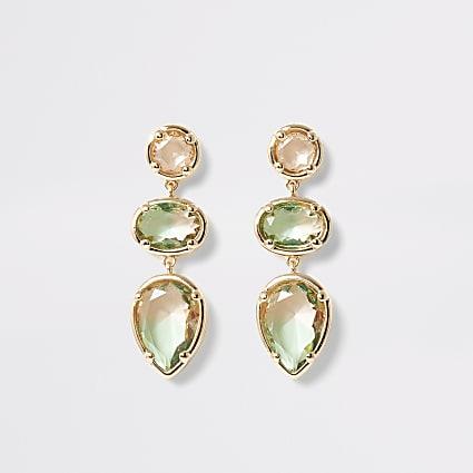 Green ombre jewel drop earrings