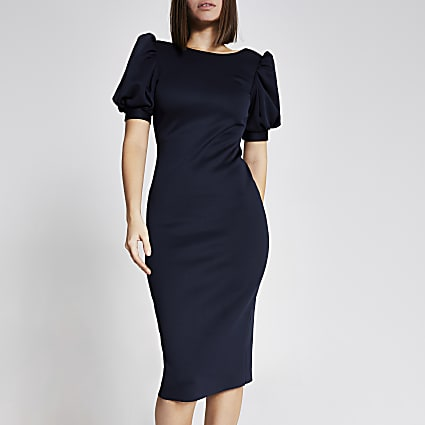 Navy short puff sleeve midi bodycon dress