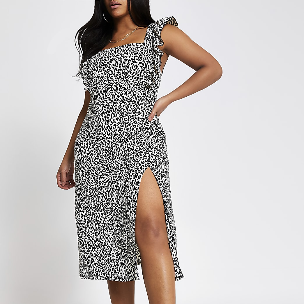 Plus black printed frill midi dress