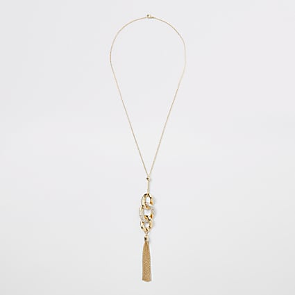 Gold colour twisted pendant necklace