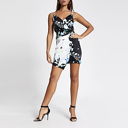 Black floral wrap mini slip dress