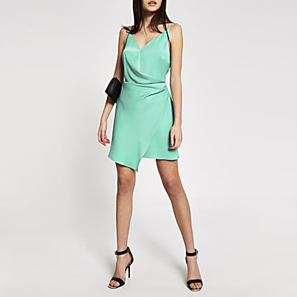 Green wrap satin mini slip dress