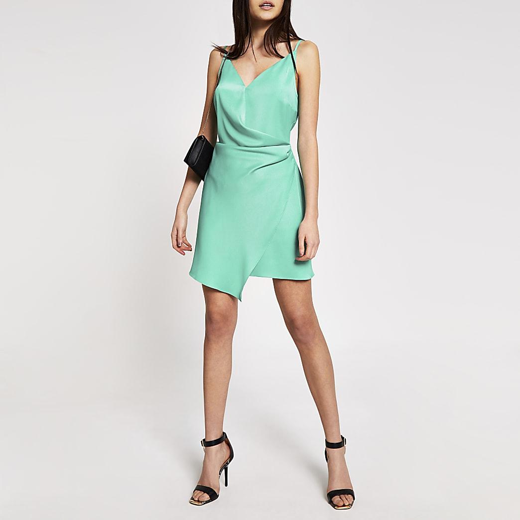 Green wrap satin mini slip dress
