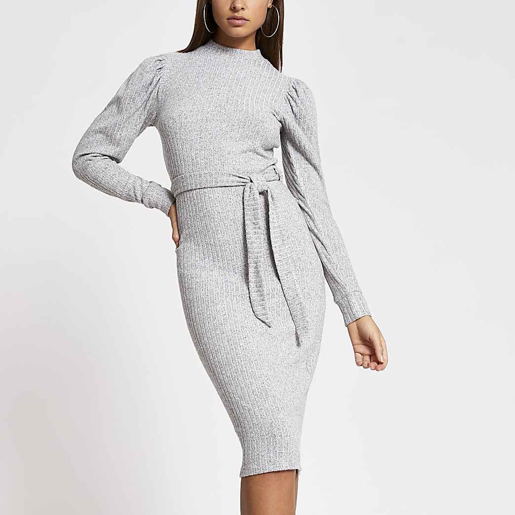 Grey puff sleeve tie belted ribbed midi dress