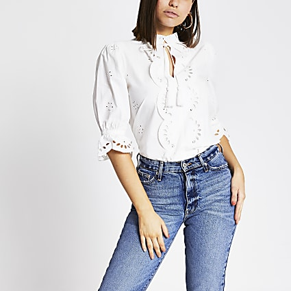 White broderie cut out tie front top