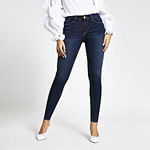 Donkerblauwe Amelie skinny jeans met middelhoge taille