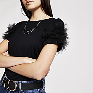 Zwart gelaagd mesh T-shirt met korte mouwen