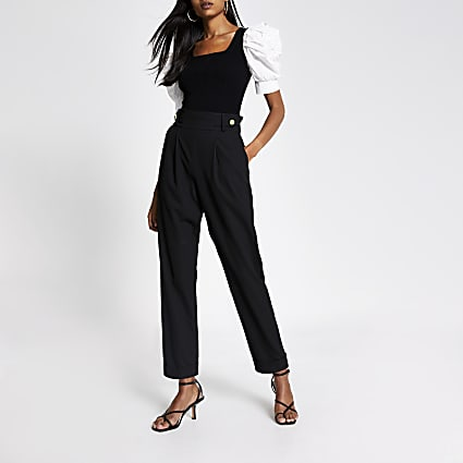 Black poplin puff sleeve square neck top