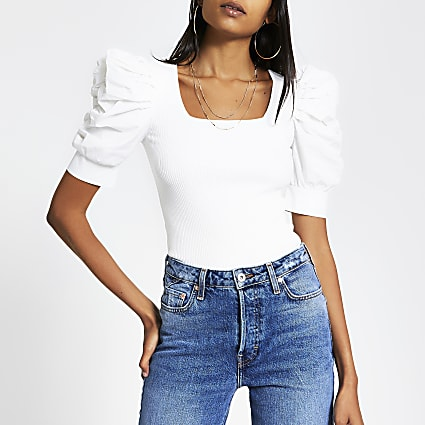 White poplin puff sleeve square neck top