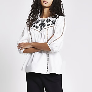 White long sleeve embroidered smock top