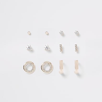 Rose gold colour diamante stud 6 pack