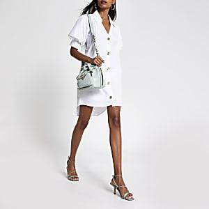White short puff sleeve mini shirt dress