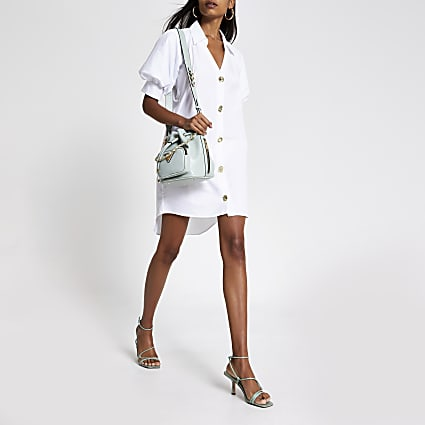 White short puff sleeve mini shirt dress
