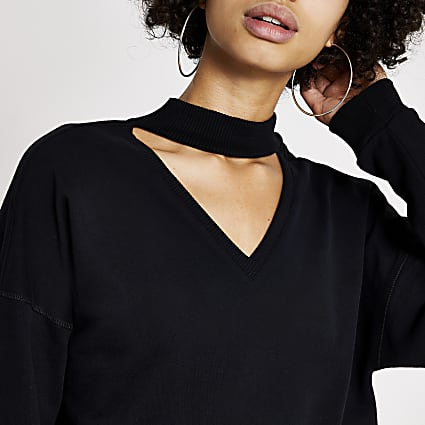 Black cut out choker sweatshirt