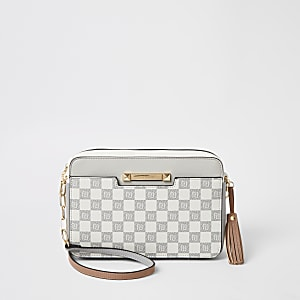 Grey RI checkerboard boxy cross body bag