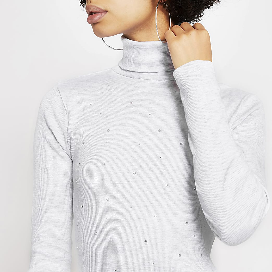 Grey diamante embellish roll neck fitted top