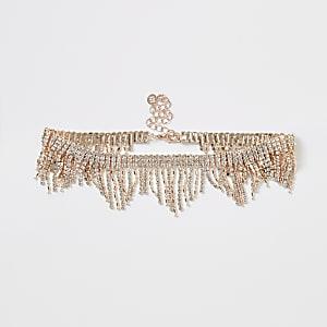 Choker-Halskette in Roségold mit Quasten und Strass