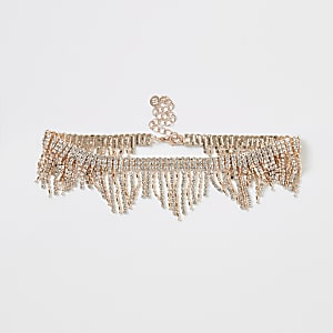 Collier ras-de-cou or rose à franges en strass