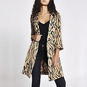 Cream printed longline duster jacket
