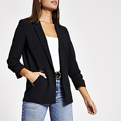 Black ruched sleeve open front blazer