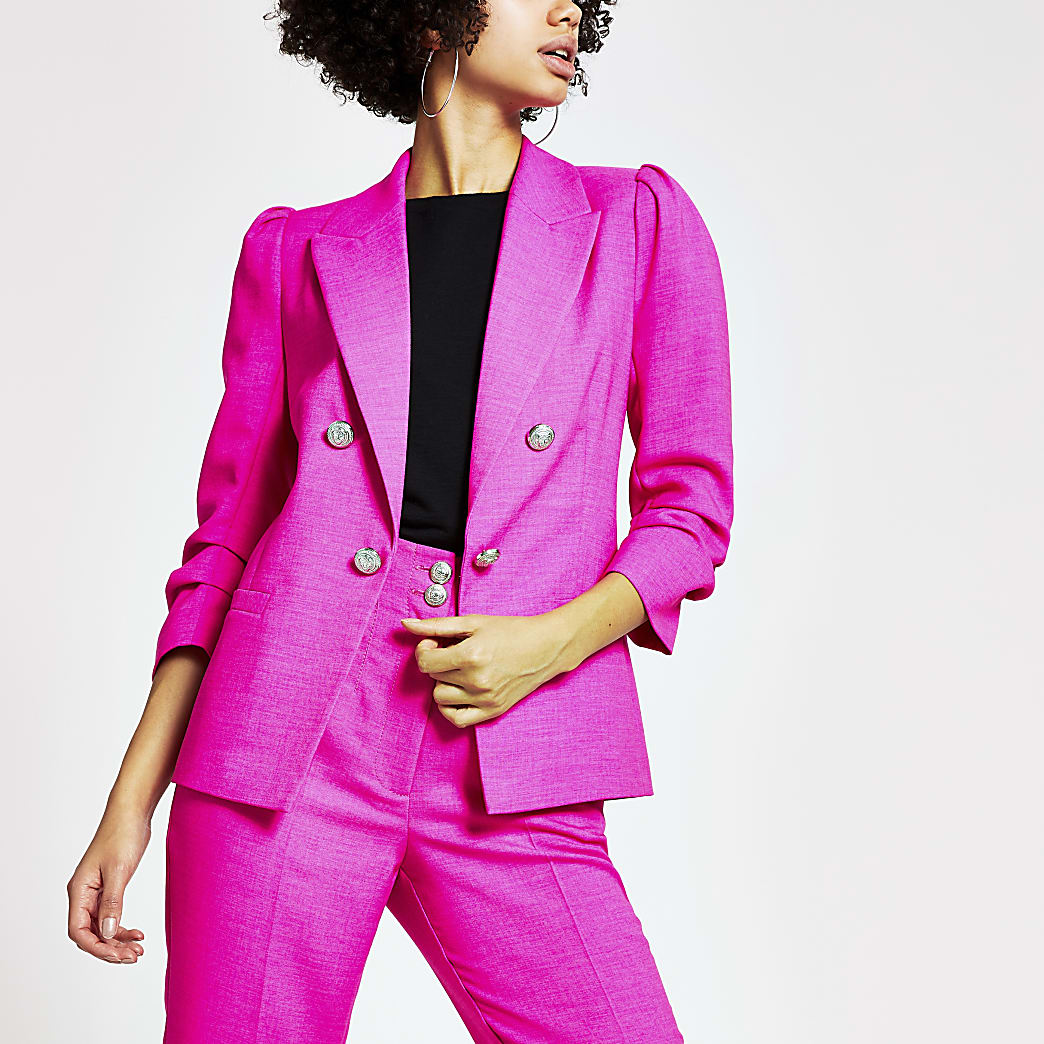 Bright pink ruched puff sleeve blazer
