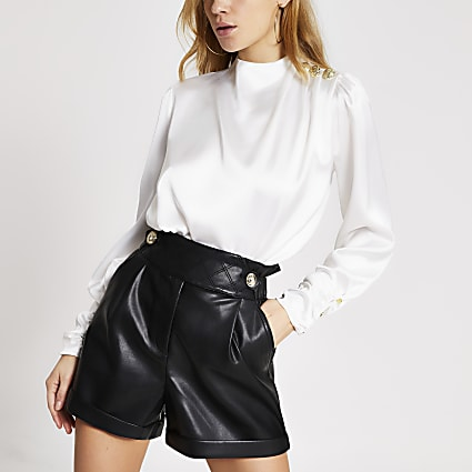 White button shoulder satin blouse