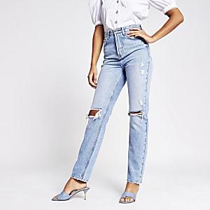 Blauwe ripped jaren 90 high rise jeans