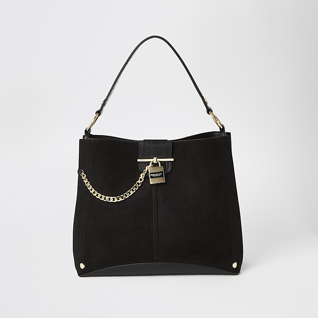 Black embossed chain lock slouch bag