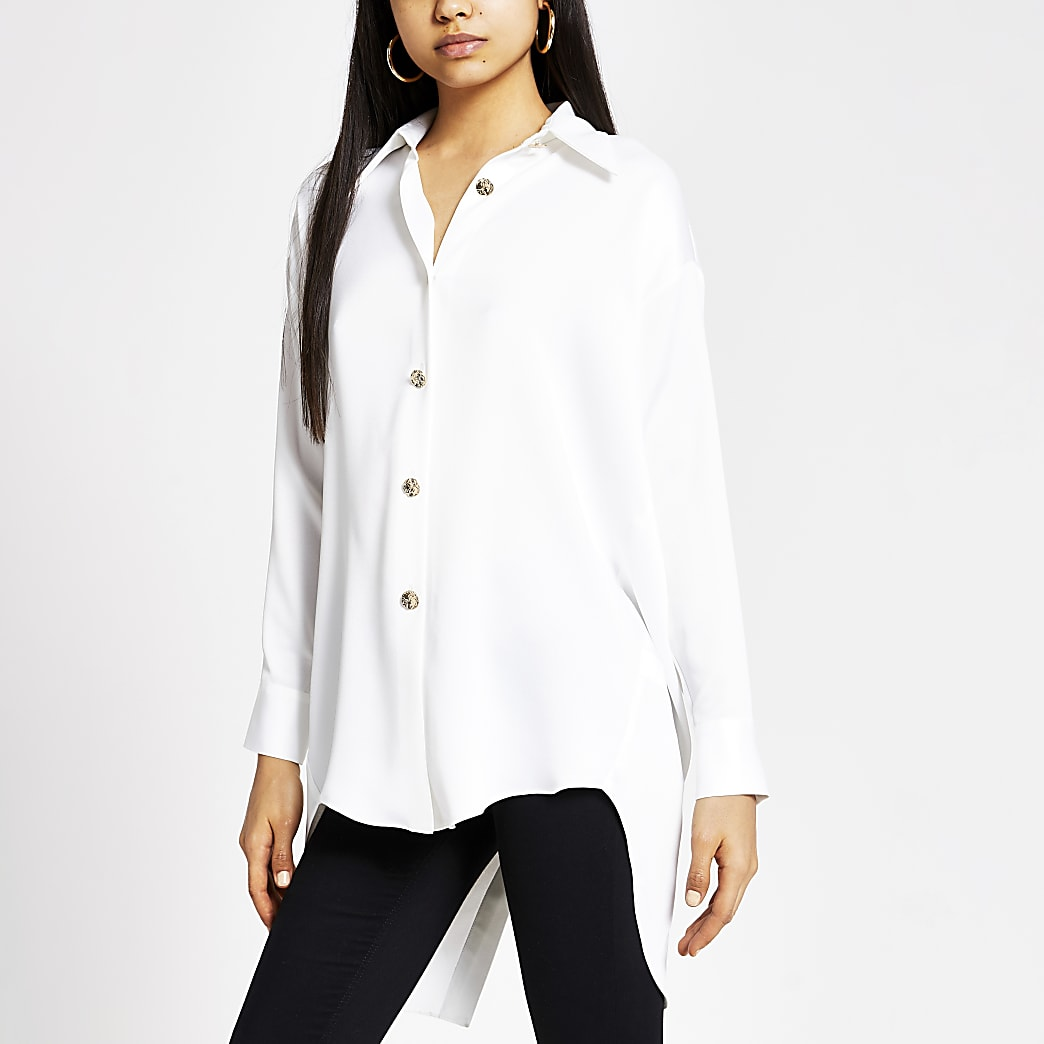 White long sleeve longline satin shirt