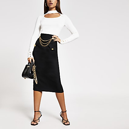 Black chain embellished midi pencil skirt