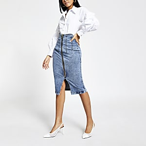 Jupe mi-longue taille haute en denim