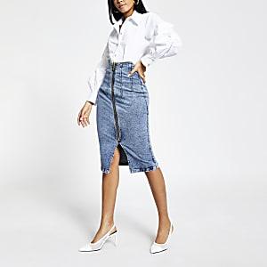 Denim midi-rok met hoge taille