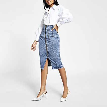 Denim high rise midi skirt