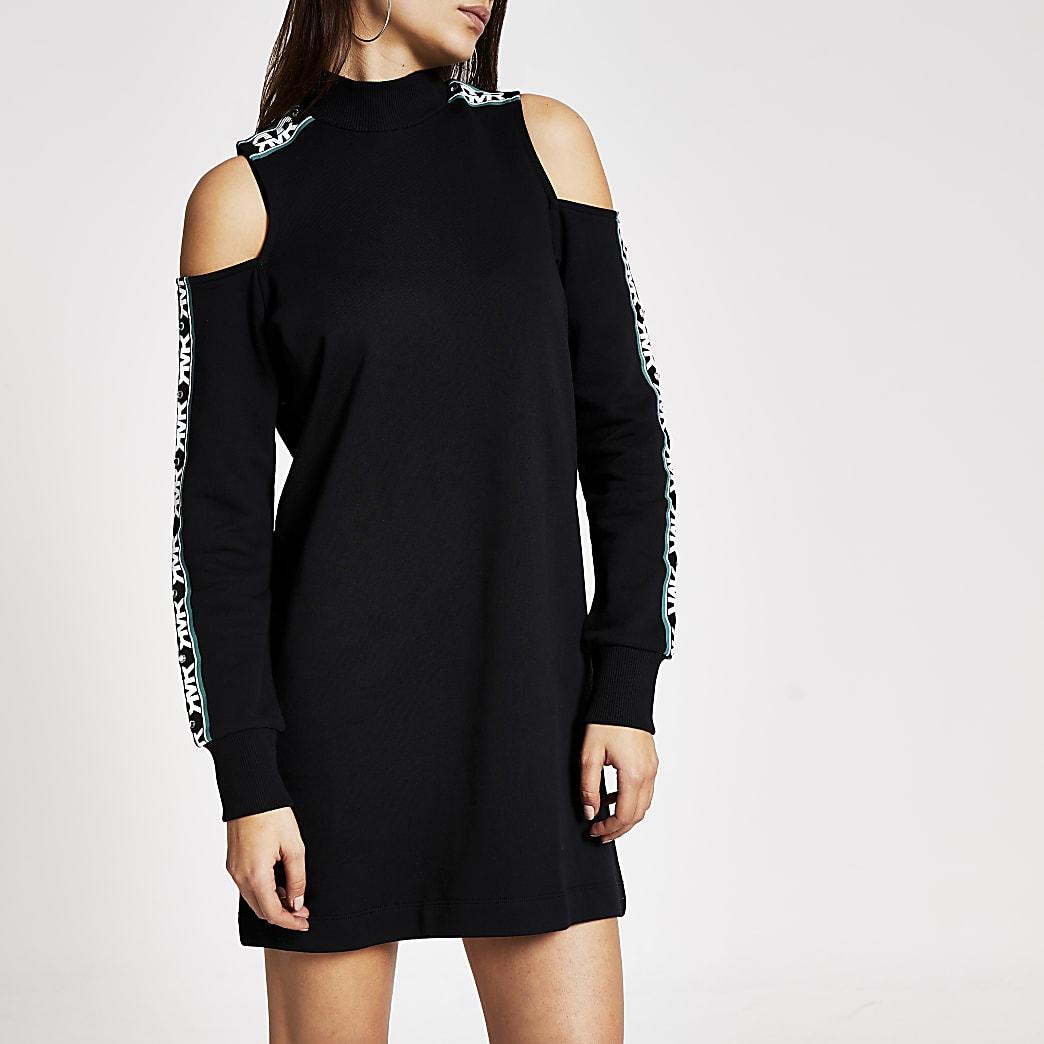 Zwarte schouderloze sweaterjurk met RVR-print