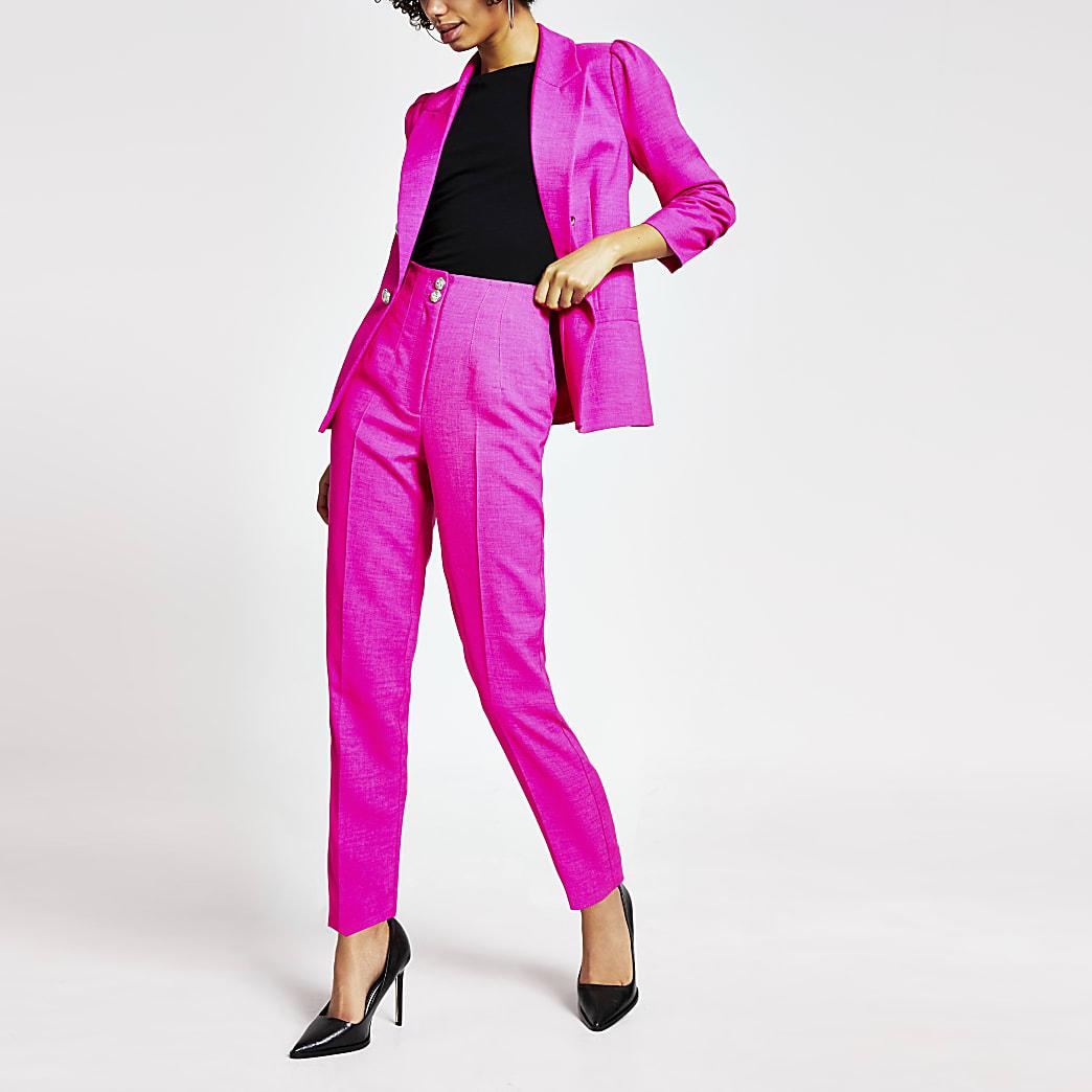 Pantalon cigarette rose vif