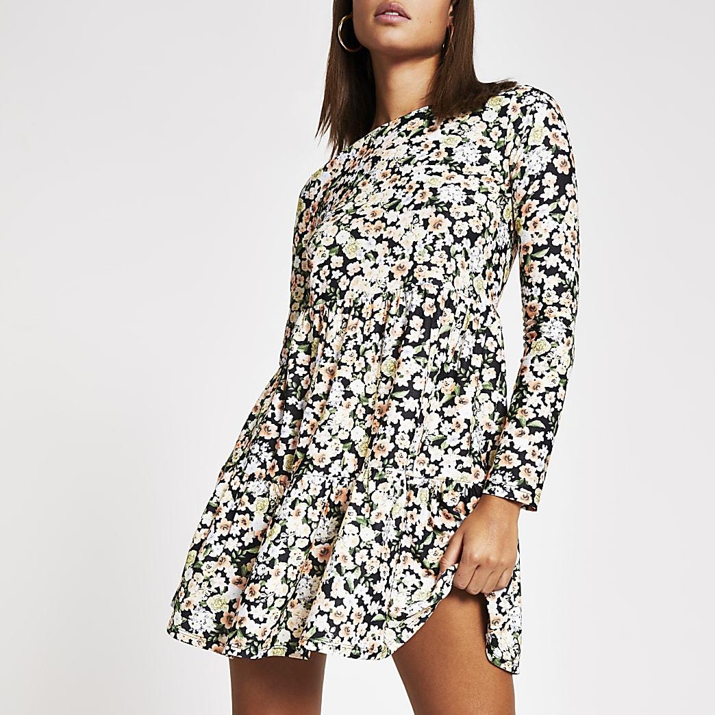 Black floral long sleeve smock mini dress