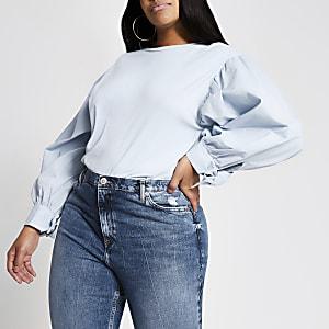 Plus – Blaues T-Shirt mit langen Puffärmeln aus Popelin