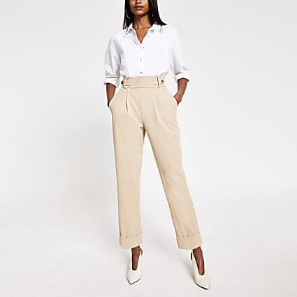 Cream button waist peg trousers