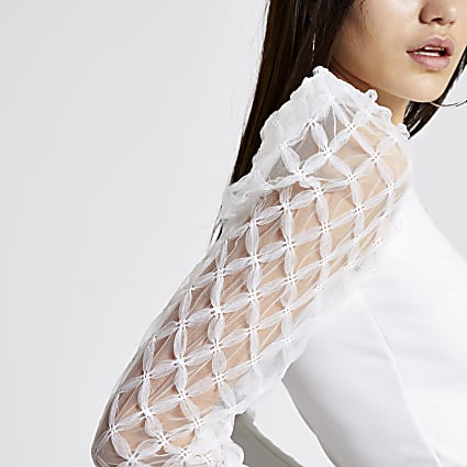 White textured mesh long sleeve top
