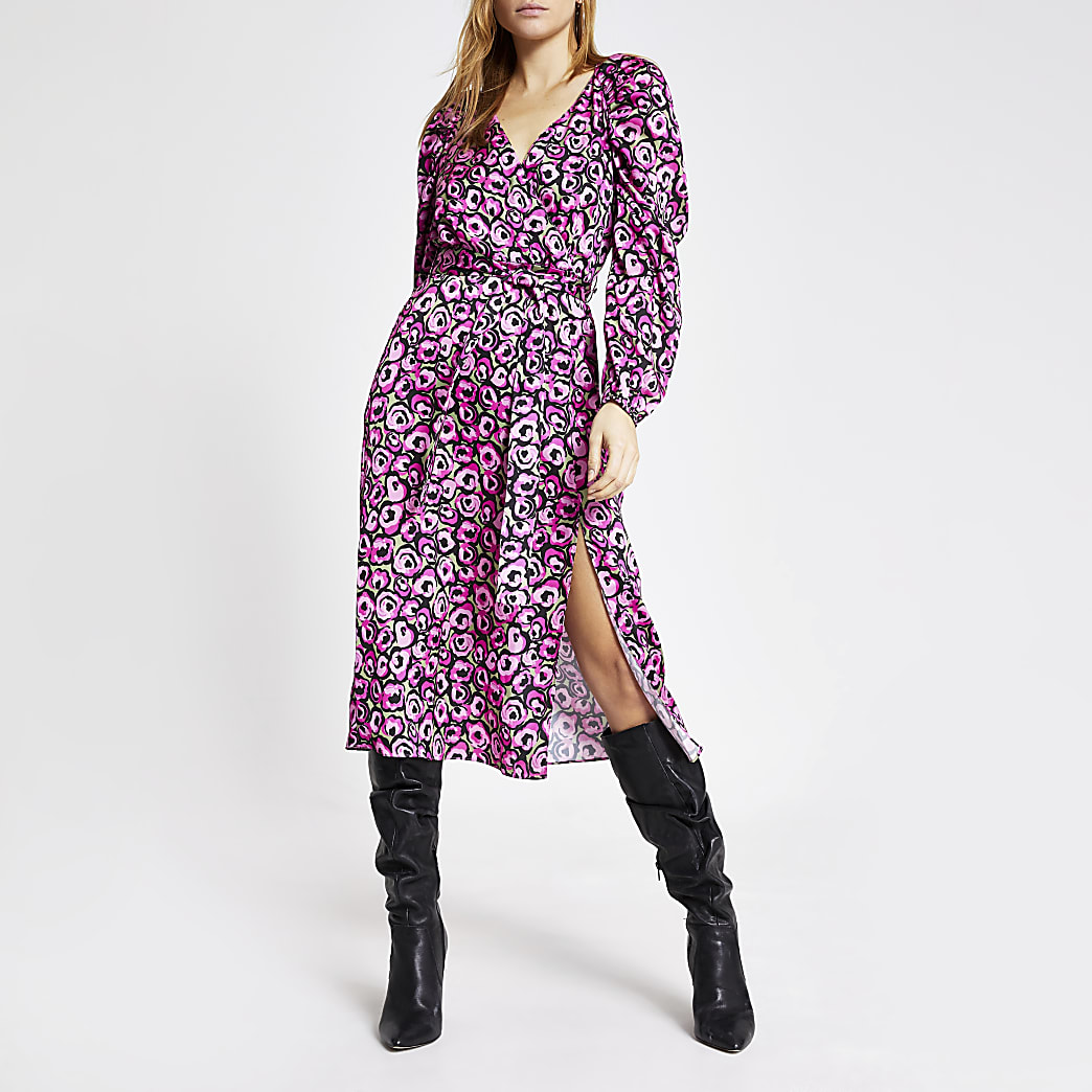 Pink floral long sleeve wrap midi dress