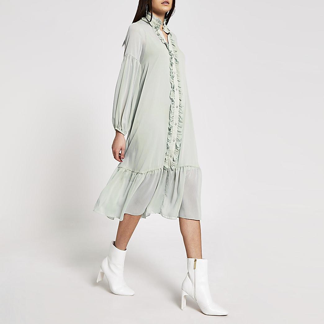 Lichtgroene gesmokte midi-jurk met ruches voorop