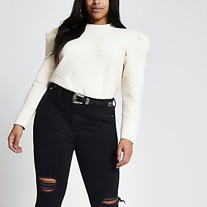 Plus cream textured long puff sleeve top