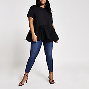 Plus – T-shirt péplum noir à manches courtes