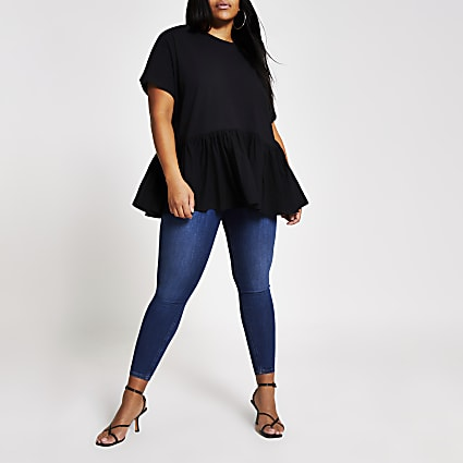 Plus black short sleeve peplum T-shirt