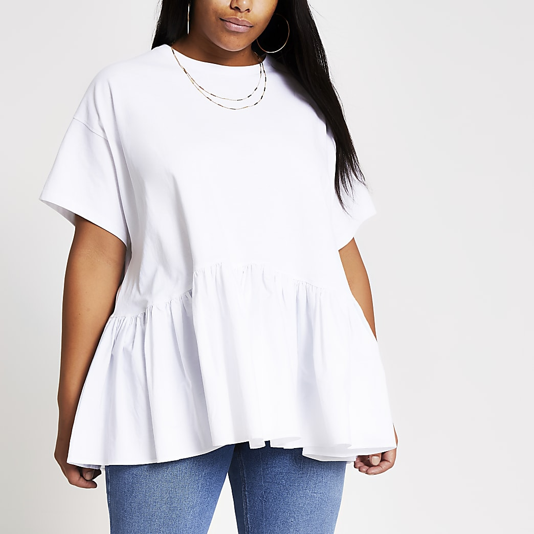 Plus white peplum T-shirt