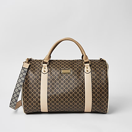 Brown RI monogram barrel bag