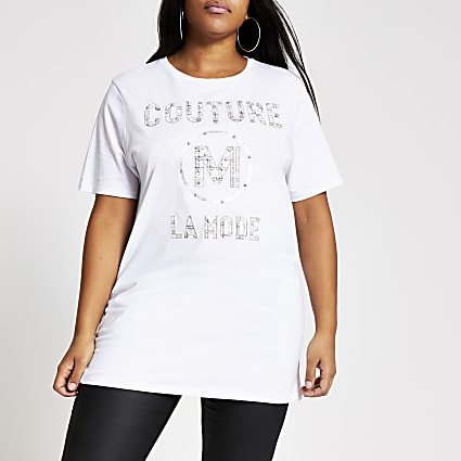 Plus white 'Couture' oversized T-shirt