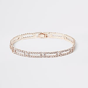 Bracelet à maillons rectangulaires or rose à stass