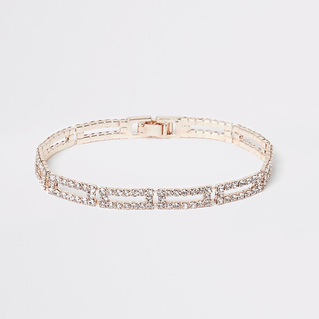 Rose gold colour diamante link bracelet